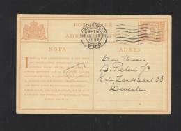 Formuljer Voor Adres Wijziging 1922 - Postal Stationery