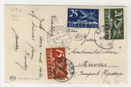 Schweiz Michel No. 179 , 180 , 213 gestempelt used auf Karte