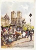 75 - Paris - Notre Dame Et Les Bouquinistes  Aquarelle Collection Aqua Pictura - Petits Métiers à Paris