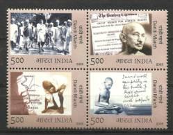 INDIA, 2005, 75th Anniversary Of Dandi March, By Gandhi, (Salt Movement), Setenant Block Of 4, MNH,(**) - Mahatma Gandhi