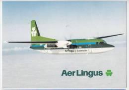 TRANSPORT AIRPLANES FOKKER 50 AERLINGUS IRELAND BIG POSTCARD - 1946-....: Moderne