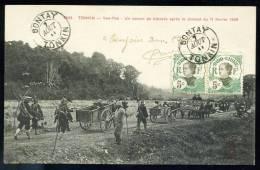 """CPA."""" COCHINCHINE """".   TONKIN. Yen-Thê. Un Convoi De Blessés Après Le Combat Du 11 Février 1909. - Viêt-Nam"""