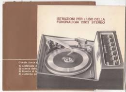 C0952 - ISTRUZIONI FONOVALIGIA STEREO 2000 - GIRADISCHI - DISCHI VINILE - Altri Apparecchi