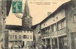 Ain -ref D781- Saint Trivier De Courtes -l Eglise Et Place De La Fontaine - - France