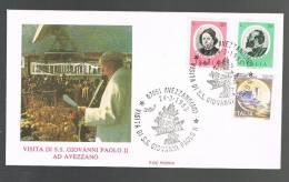 GIOVANNI PAOLO II - VISITA A AVEZZANO - ANNULLO SPECIALE  24.3.1985 - BUSTA - - Papi