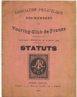 Statuts De L' Association Philatelique Du Touring Club De France 1898 Ballif President - Timbres