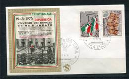 """Italy 1976 First Day Cover Special Cancel  Colorano \""""Silk\"""" Cachet  Anniv Of Republic - 1946-.. Republiek"""