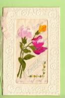 Carte Brodée : Carnet De L' AMITIE - Roses Multicolores - 1 Scan (dos Blanc) - Brodées