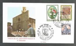 GIOVANNI PAOLO II - VISITA A TERAMO - ANNULLO SPECIALE  30.6.1985 - BUSTA - - Papi