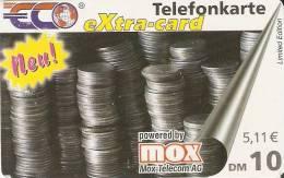 TARJETA DE ALEMANIA DE UNAS MONEDAS DE 10 DM  (COIN) MOX TELECOM - Sellos & Monedas