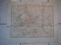 Ancienne Carte ENVIRONS DE PARIS, FORTS, CHEMIN DE FER DE GRANDE CEINTURE De L´Atlas National, Arthême Fayard Edit - Cartes Géographiques
