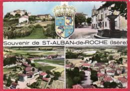 CPSM 38 Souvenir De ST ALBAN DE ROCHE  Saint  Multi Vues  Vue Aérienne La Fontaine Près BOURGOIN   * Format CPM - Autres Communes