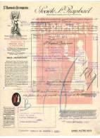 """PARIS FACTURE : """" Société St RAPHAËL QUINQUINA """" - Circulée Vers LENS - Verso AGEN - France"""