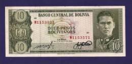 BOLIVIA 1962,  Banknote  ,Used VF , 10 Pesos Bolivianos Km154 - Bolivia