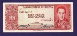 BOLIVIA 1962,  Banknote  ,UNC , 100 Pesos Bolivianos Km157 - Bolivië