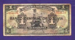 BOLIVIA 1911,  Banknote  ,Used VG , 1 Boliviano,  Km102 - Bolivië