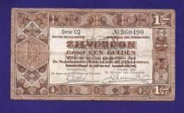 NETHERLANDS 1938 , Zilverbon  ,Used VF, 1 Gulden - [2] 1815-… : Regno Dei Paesi Bassi