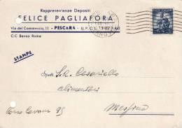 "PESCARA  /  Cartolina Pubblicitaria  "" FELICE PAGLIAFORA _ Rapresentanze Depositi "" _  Viaggiata - Pescara"