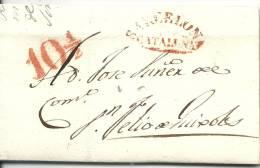 1841. ENVUELTA COMPLETA DIRIGIDA DE BARCELONA A SAN FELIU DE GUIXOLS. MARCA EN ROJO Y PORTEO - Spain