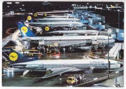 TRANSPORT AERODROMES FRANKFURT AM MAIN BOEING 727 AND AIRBUS A 300 B2 GERMANY BIG POSTCARD - Aerodrome