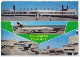 TRANSPORT AERODROMES DUSSELDORF GERMANY JAMMED BIG POSTCARD - Aerodrome