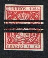 Ed. 24 6 Reales 1854 Barrado (impecable) - Usados