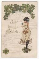 GOOD LUCK LADY -GOLD COINS & CLOVERLEAFS 1900s Vintage GERMANY UDB Art Postcard  [c3001] - Postcards