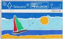 RTT Belgacom Telecard : Voile - Soleil - Mer - Ciel - Plage Dessinés - Cartes GSM, Prépayées Et Recharges