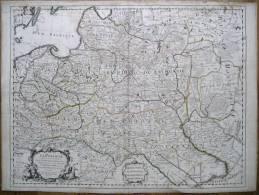 GRANDE RARE CARTE GEOGRAPHIQUE  DE LA POLOGNE GRAND DUCHE DE LITHUANIE UKRAINE PRUSSE  EN 1702 VOIR DESCRIPTION ET SCAN - Cartes Géographiques