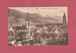 *  CPA  ( 68 )  MUNSTER   : Eglise Catholique - Scan  B ( 2 Scans ) - Munster