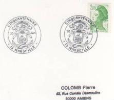 OBLITERATION COMMEMORATIVE CINQUANTENAIREDES MARINS POMPIERS MARSEILLE 1989 - Militaria