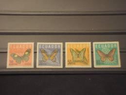 EQUADOR - 1961 FARFALLE 4 Valori - NUOVI(+)-TEMATICHE - Ecuador