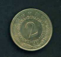 YUGOSLAVIA  -  1980  2 Dinar  Circulated As Scan - Yugoslavia