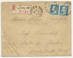 1926 - ENVELOPPE RECOMMANDEE De PARIS - PAIRE PASTEUR - Storia Postale