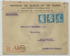 1926 - ENVELOPPE RECOMMANDEE De PARIS - PASTEUR - SEMEUSE - France