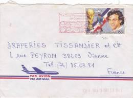 MARCOPHILIE, République Centrafricaine, 750 Seul Sur Lettre, Cachet 1988 BANGUI, Football Platini./2176 - Zentralafrik. Republik