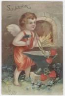 ENFANT /ANGE Sortant Des Coeurs D'un Fourneau  - Carte Gaufrée Marquée Souvenir  / 1405 - Angels