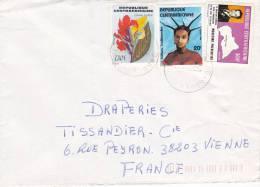 MARCOPHILIE, Centrafrique, Affranchissement Composé, Cachet 1985 , BANGUI, Fleur, Coiffure./2194 - Central African Republic