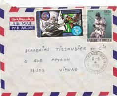 MARCOPHILIE, Centrafrique, Affranchissement Composé, Cachet 1983 BANGUI, Espace, Mère Et Enfant./2197 - Zentralafrik. Republik