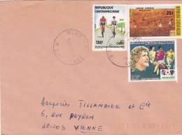MARCOPHILIE, Centrafrique, Affranchissement Composé, Cachet 1987 BANGUI, Sport Vélo Football./2206 - Zentralafrik. Republik