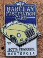 BARCLAY FASCINATION CARS - '92 ISOTTA FRASCHINI MONTEROSA - VOITURE JAUNE - N°430      -          (ROUGE) - Pin's & Anstecknadeln