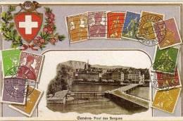 GENEVE - Pont Des Bergues  - Carte Postale Moderne Géante Avec Repro De Timbres  (VP524) - Switzerland