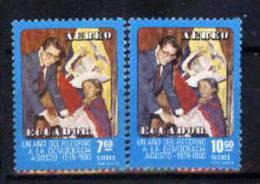 Ecuador 1980 YTA716-17 ** Un Año Del Retorno A La Democracia: Presidente Roldos Con Niña Indígena. - American Indians