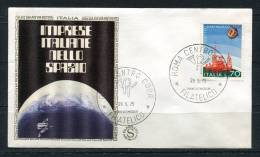 """Italy 1975 First Day Cover Special Cancel  Colorano \""""Silk\"""" Cachet  Space Satelite - 1946-.. Republiek"""