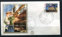 """Italy 1975 First  Day Special Cancel Cover Colorano \""""Silk\"""" Cachet  Emmigrants And Ship - 6. 1946-.. Republic"""