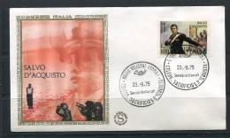 "Italy 1975 First  Day Special Cancel Cover Colorano \""Silk\"" Cachet Art Salvo D´Aquisto By V. Pisano - 6. 1946-.. Republic"