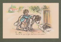 Cp Signée Germaine Bouret - Enfant, Chien, Saint Bernard, Children, Dog - Bouret, Germaine