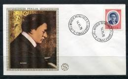 """Italy 1975 First  Day Special Cancel Cover Colorano \""""Silk\"""" Cachet  Misic F.B.Busoni - 1946-.. République"""