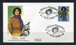 """Italy 1977 First  Day Special Cancel Cover Colorano \""""Silk\"""" Cachet  Diana Gali Actress - 1946-.. Republiek"""