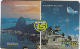 BRAZIL(Telefonica) - Guanabara's Bay Rio De Janeiro/May Square Buenos Aires, 08/02, Used - Brasile